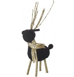 A gorgeous reindeer decoration with gold glitter antlers and scarves.
