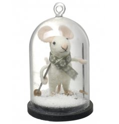 An adorable festive mouse encased in a cloche. Includes snow and festive scarf.