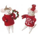 Cute and unique mouse decorations with festive jumpers and adorable accessories.