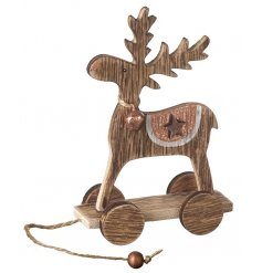 A charming reindeer on wheels ornament with copper details and glitter bell.