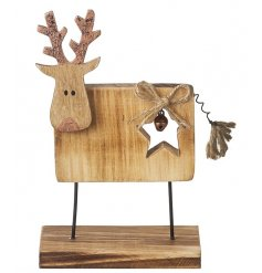Decorative wooden standing reindeer