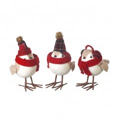 An assortment of 3 cosy winter bird decorations, each with a knitted festive scarf and hat or ear muffs.