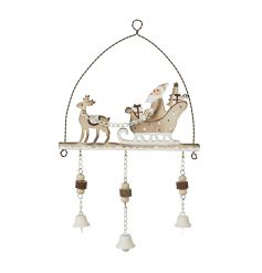 Beautiful natural tone and white wooden hanging decoration. Complete with delicate hanging white bells