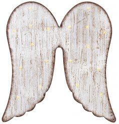 A shabby chic style wooden wall hanging with LED lights. A stunning home accessory.