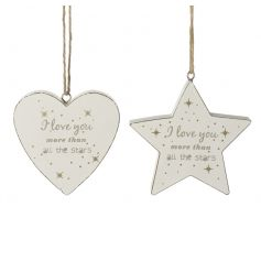 wooden hanging star and heart decoration