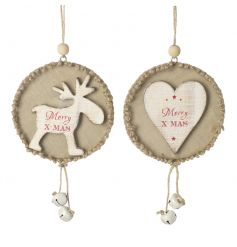 An assortment of 2 charming woodland style hangers with 'Merry Xmas' slogan and jingle bells.