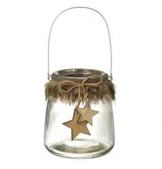 Get cosy this season with this lantern complete with fur trim and wooden hanging stars.