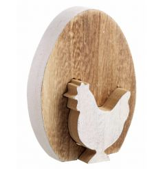 Wooden egg decoration with cut out hen