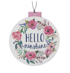 A pretty metal plaque with a Hello Sunshine slogan and water colour style floral design.