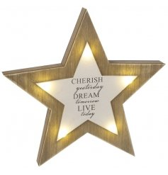 A gorgeous 3D wooden star decoration with cherish slogan and LED lights.