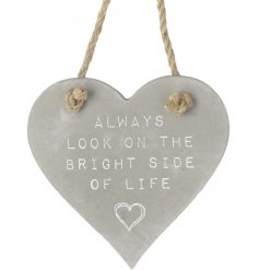 A shabby chic inspired hanging concrete heart, perfectly set with a white washed embossed text and chunky rope hanger