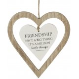 Delicate simplistic designed hanging double wooden heart