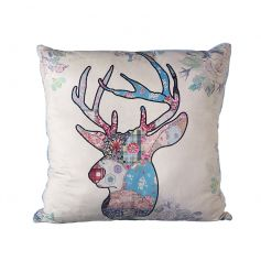 A stylish patchwork design cushion with a stag motif.