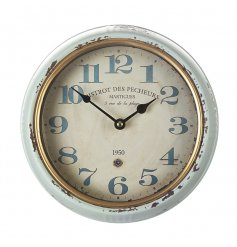 A rustic and antique design wall clock with a distressed style
