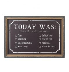 A fun and interactive chalkboard sign to be completed each day. A rustic style gift and home accessory.