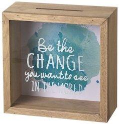 Natural tone wooden decorative money box