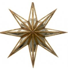 A glamorous 3D star decoration with antique gold and mirror panels.