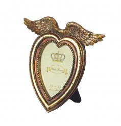 A glamorous heart shaped photo frame with angel wings and an antique gold finish.