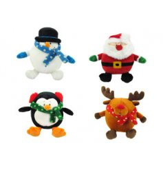 An assortment of 4 Christmas character soft toys. Perfect for the festive season!