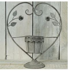 Antique Grey Heart Candle Holder