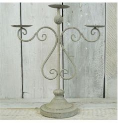 Spiral Antique Grey Candelabra
