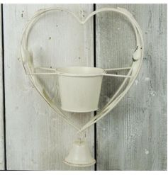 Antique Cream Hanging Heart Candle Holder