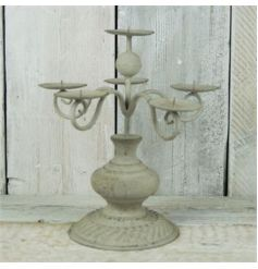 Metal grey candelabra with 6 placements for candles