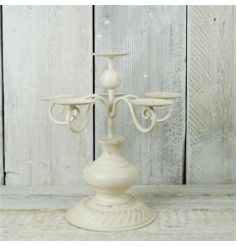 Metal cream candelabra with 6 placements for candles