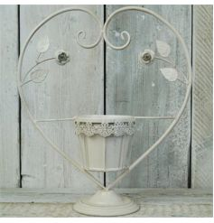 Metal cream hanging heart shaped candle holder