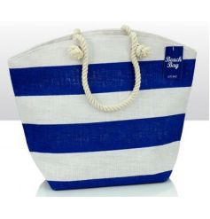 Jute beach bag in blue and white with rope handle
