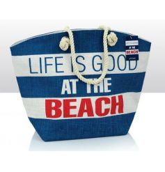 Stylish jute beach bag with Life Is Good print
