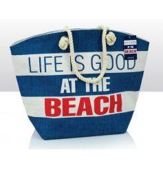 Stylish jute beach bag with Life Is Good print