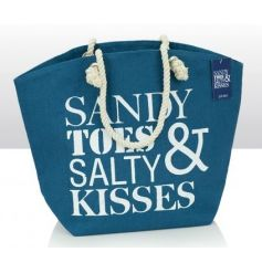 Sandy Toes quote on a jute beach bag