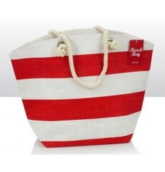 Jute beach bag in a red and white design with rope handle