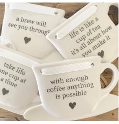 A mix of 4 tea and coffee slogan signs written onto ceramic cups. A great gift item!