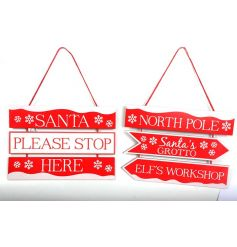An assortment of 2 festive signs in red and white designs.