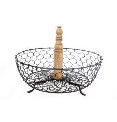 Wooden Centre Wired Basket