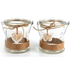 Small Heart & Butterfly Candle Holders, 8cm