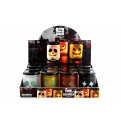 4 assorted spoooky LED jars with blacked out halloween faces, perfect decoration for any scary display