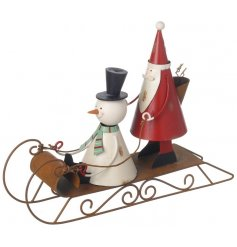 A must have! Snap up this gorgeous vintage style decoration with Santa and Snowman on a sledge!