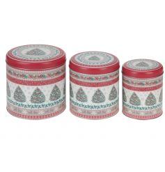 A set of 3 stylish tin canisters with a vintage christmas tree design.