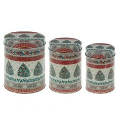 Vintage style tin canisters with a festive tree design.