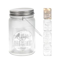 An assortment of 3 glass mason jars with lights and festive slogans. These look gorgeous when lit.