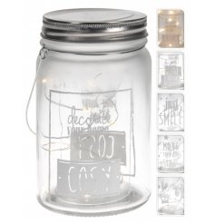 On trend mason jars with xmas slogans and LED lights.
