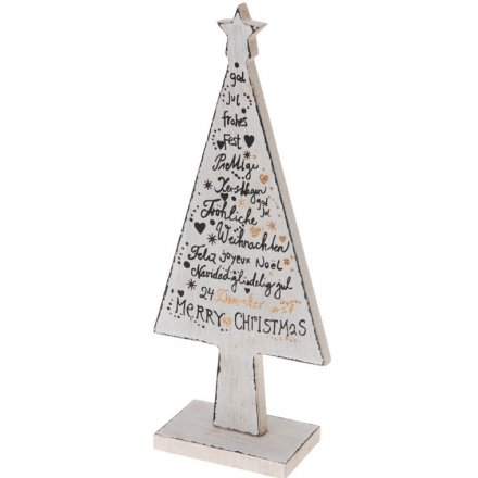 a decorative wooden tree with merry christmas slogans with gold glitter details - Christmas Slogans