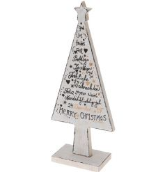 A decorative wooden tree with Merry Christmas slogans with gold glitter details.