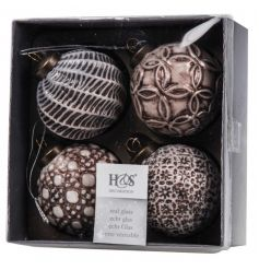 A glamorous pack of 4 baubles, each with different patterns in bronze and gold hues.