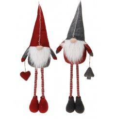Grey and red standing Gonk decorations with festive hats, hanging decorations and fabulous beards.