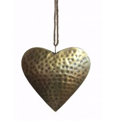 Stay on trend with this richly coloured metal heart hanger with a hammered finish.