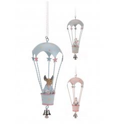 3 adorable assorted hanging metal air balloons compete with a Reindeer, Snowman and Santa.